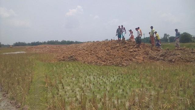 পার্বতীপুরে আবাদী জমির ক্ষতি করার অভিযোগে কৃষকের গণস্বাক্ষর